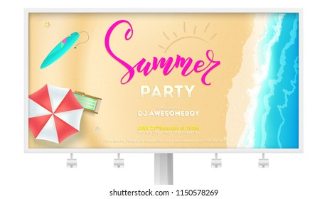 Summer party on seascape seashore with sandy beach. Advertising on Billboard. Vector poster of summer beach with waves of surf, sun umbrella, deck chair, surfboard. Cover, invitation on summer party.