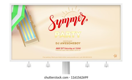 Summer party on seascape seashore with sandy beach. Billboard with design of text and advertising on sandy beach backdrop. Vector poster with sun umbrella and deck chair. Summer party invitation.