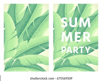 Summer party poster. Banana leaves background. Retro vector illustration. Place for your text. Design for invitation, banner, card, flyer