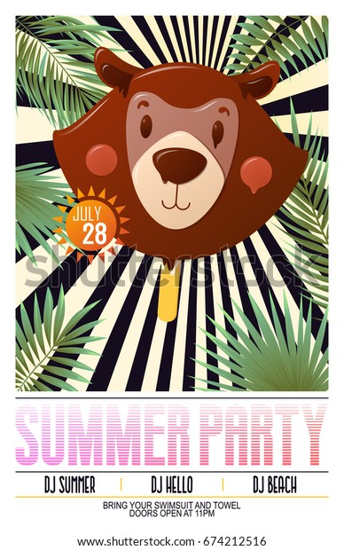 Summer party poster with bear ice cream illustration on tropical exotic background. Vector banner