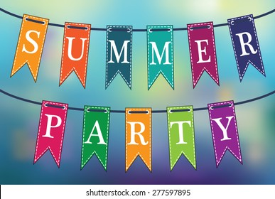 Summer party poster. Colorful flags up in the air against blurred background. Vector illustration.