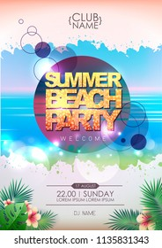 Summer party poster design. Summer beach party