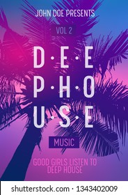 Summer Party poster design. Summer music party flyer artwork template A4.  Tropical Sunset - Vector