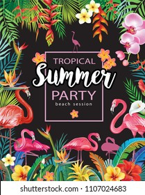 Summer Party Poster with Flamingoes and Tropical Flowers