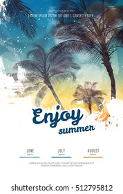 Summer party poster or flyer design template with palm trees silhouettes. Modern style. Vector illustration