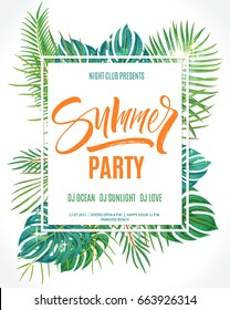 Summer party poster. Hand written lettering with exotic palm leaves and plants background. Brush painted letters, modern calligraphy, vector illustration.