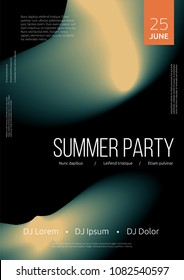 Summer party poster. Music event flyer or banner template with smooth background