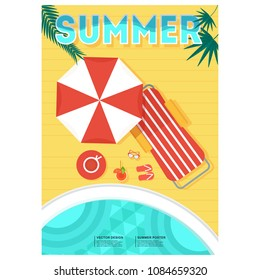 Summer party poster. Relax on a tropical sandy beach on a deckchair under an umbrella. Blue sea or ocean, starfish in the surf foam.