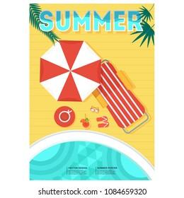 Summer party poster. Relax on a tropical sandy beach on a deckchair under an umbrella. Blue sea or ocean, starfish in the surf foam.