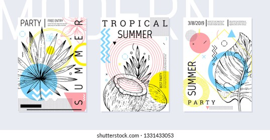 Summer party poster set, geometric memphis style. Cool trendy flyer with type quote. Tropical elements for travel banner, music cover, fashion print. Leaf vector illustration, blue, pink background