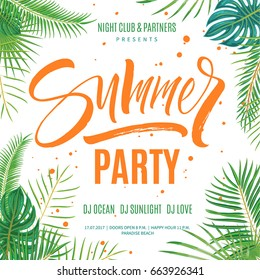 Summer party poster template. Hand written lettering with exotic palm leaves and plants background. Brush painted letters, modern calligraphy, vector illustration.