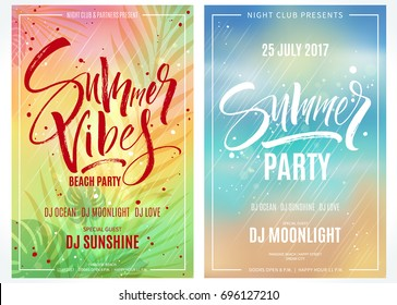 Summer party posters. Hand written lettering with exotic palm leaves and plants background. Brush painted letters, modern calligraphy, vector illustration.