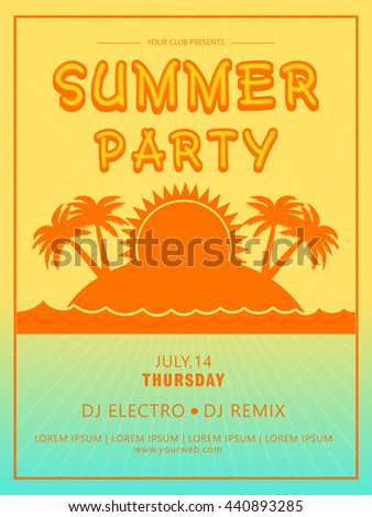 summer party template beach party banner stock vector royalty free