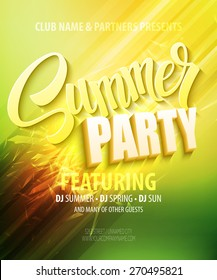 Summer party. Template poster  Vector illustration