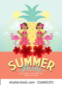 summer party template vector/illustration