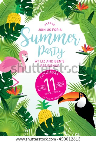 summer party tropical invitation card template stock vector royalty