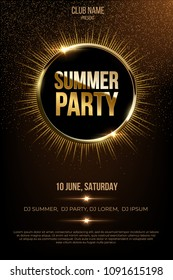 Summer party vector poster template with shining golden rays and glitter on dark background.