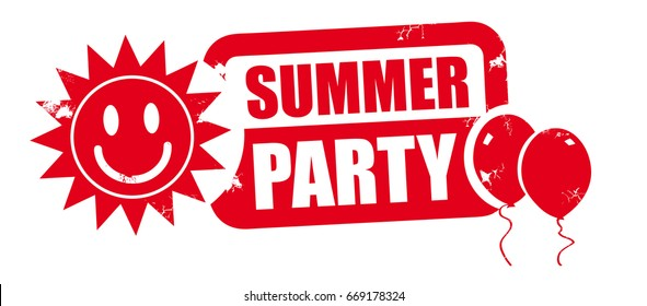 summer party word red stamp text on white background - vector illustration