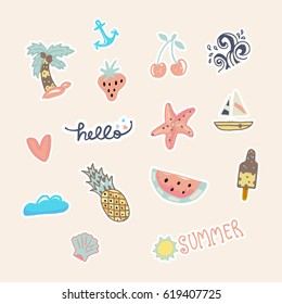 Summer pastel colors stickers