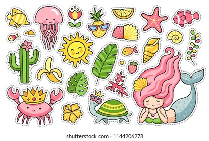 Summer patches set. Collection of vector funny summer stickers. Mermaid, in turtle in sunglasses, crab in the crown, jellyfish, cactus, tropical leaves, flowers and seashell.