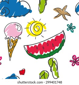 Summer pattern Bright summer pattern consisting of recognizable signs of the summer! Juicy watermelon, ice cream cone, beach flip-flops, starfish, sunshine, cloud and heart. Everyone loves summer!