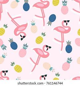 Summer pattern. Flamingo, pineapple, sunglasses. Vector illustration