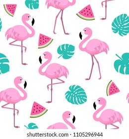 Summer pattern with flamingos, watermelon and tropical leaves. Vector seamless texture.