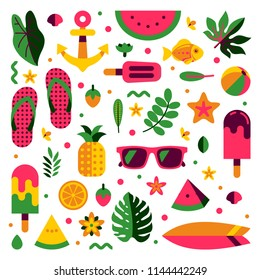 summer pattern and holiday elements icon vector illustration