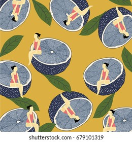 Summer pattern with lemons,leaves,woman and bikini.Abstract,vintage pattern background  with 3D,blue lemons.For textile,texture,prints,wallpaper,t-shirt design.Vector illustration.