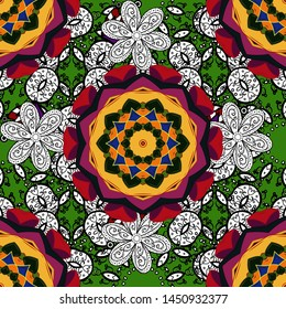 Summer pattern with stylized flowers. Vector ornate zentangle seamless texture, pattern with abstract floral mandalas on white, black and green colors. White, black, green. Can be used for wallpaper.
