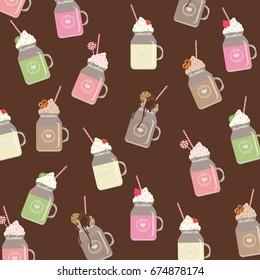 Summer pattern with sweets,milkshakes,cookie,pretzel,cream,cherry,strawberry,candy,kiwi,chocolate.For menu design,textile,texture,prints,wallpaper.Vector illustration.