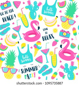 Summer pattern. Watermelon, pineapple and holiday elements. Vector illustration