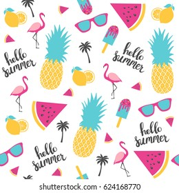 Summer pattern. Watermelon, pineapple, lemon. Vector illustration