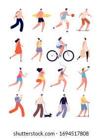 Summer people. Happy female, fun walking person. Isolated street sport, bikes and pet lover, skateboarder. Outdoor activities vector set