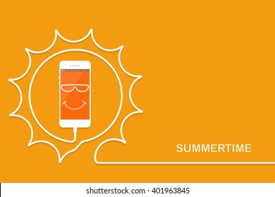 Summer phone card. Sun cable with cellphone vector. Charging fun face. Summertime Smartphone, line wire.  Outline earphone.