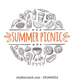 Summer picnic concept. Hand drawn vector illustration. Boomerang, corkscrew, lemonade, bbq, beer, ball, ketchup, badminton, tableware, basket, sandwich, sausages. Can be used for sticker, label, badge
