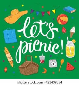 """Summer picnic doodle set. Various meals, drinks, objects, sport activities. Vector illustration with lettering """"Let's picnic!""""."""