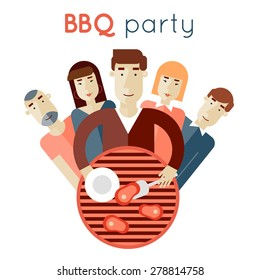 Summer picnic grill party. Barbecue. Man frying meat on the coals for the company. Flat style. Poster.