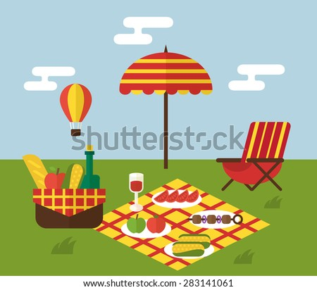 summer picnic invitation template food basket stock vector royalty