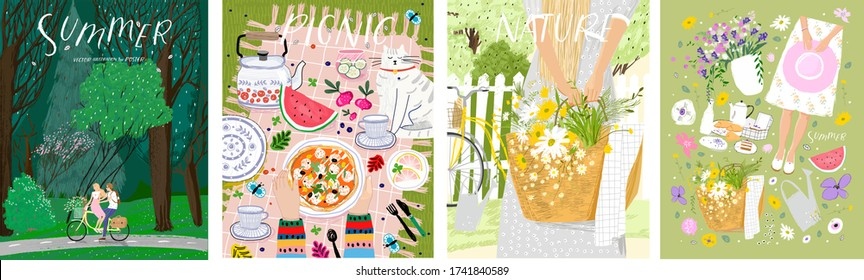 Summer, picnic, nature. Vector cute illustration of forest, objects, couple on a bicycle, picnic and woman in the village on the nature. Drawings for poster, postcard or card.