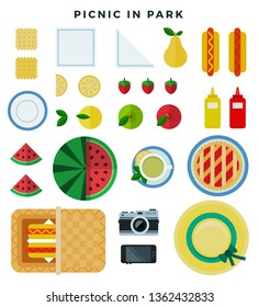 Summer picnic in park on the meadow, set of vector flat style elements. Various food, napkin, plate, basket, cookies, berries, hat, camera. Top view. Vector illustration for banners, invitations.