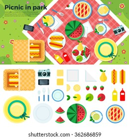 Summer picnic in park on the meadow:  fruits, cake, hotdog, napkins, plates, camera, cookies, berries. Top view. Icon set flat design of picnic items. For banners, promotion, presentation templates