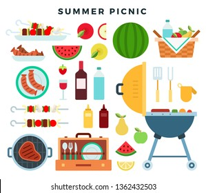 Summer picnic party, icons set. Barbeque elements, food, drinks, picnic basket, cooking utensils. Attributes of family weekend. Backyard BBQ summer party. Illustration for banner, invitation card.