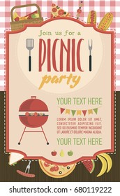 Summer picnic party invitation card with food, fruits, barbecue. Vector flat illustrations