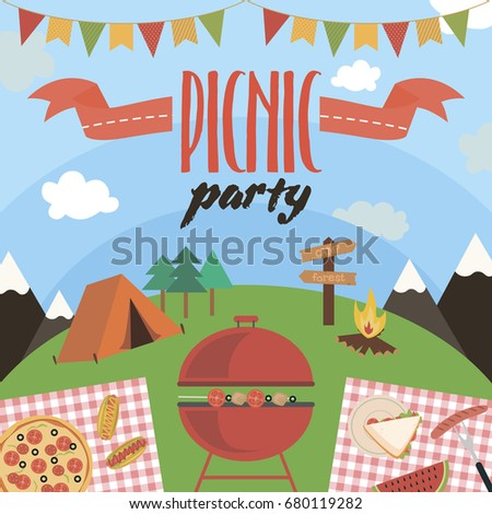 summer picnic party invitation card food stock vector royalty free