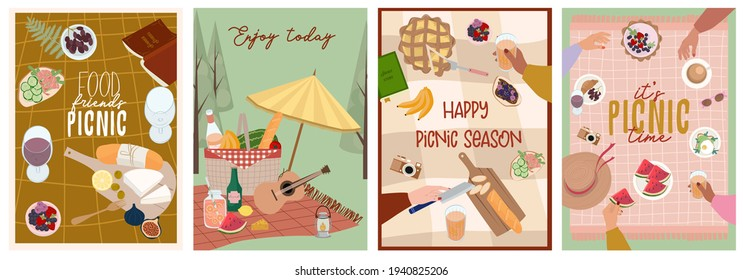 Summer picnic poster or invitation cards set with tasty food and leisure things. Outdoor active rest.  Editable vector illustration.
