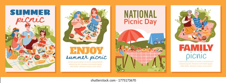 Summer picnic poster template set with cartoon people eating food in nature together. Happy family and couples with blanket and good meal, colorful vector illustration.