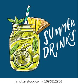 Summer pineapple cocktail. Vector illustration summer holiday and beach party. Isolated on blue background.