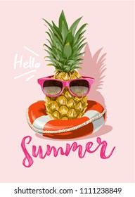 summer with pineapple in sunglasses illustration