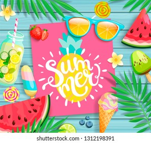 Summer pink card or banner with pineapple and handdrawn lettering on blue wooden background with watermelon, detox, tropical leaves, ice cream,sunglasses and candy, blueberry. Vector Illustration.